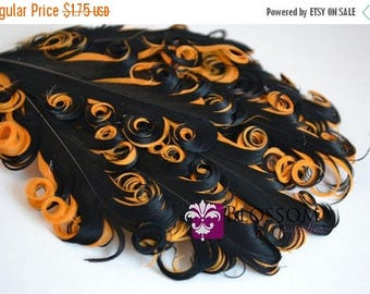 ON SALE CLEARANCE 1 Halloween Curly Nagorie Feather Pads - Goose Feather Pad Black on Orange - Feathers - Diy Halloween Headband Hair Piece