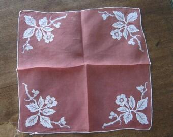 3 Brown Vintage Hankies with White Appliques, Embroidery & Dots~Brown Wedding Hankies; Casual Hankies; Unisex Handkerchiefs; Free Ship/U.S.