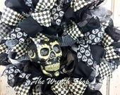 Day of the Dead Skull Wreath - Halloween Skull Wreath