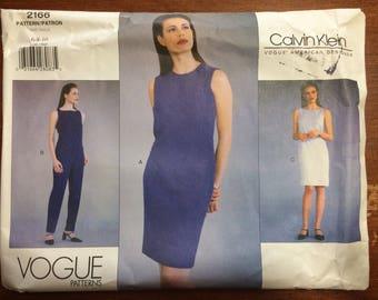 Uncut! Vogue Pattern 2166 Calvin Klein Top, Dress, Skirt, Pants 1998 Size 6-8-10