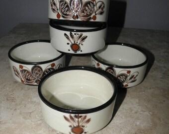 "15% OFF 5 Burkart Handarbeit Hand Painted 4"" Ramikins, Bowls, Condiment Dish"