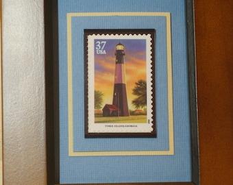 Southeastern Lighthouses Framed US Stamp- Tybee Island, Georgia - No. 3790