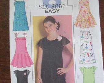 Vintage dress paper pattern size 10 1/2-12 1/2-14 1/2-16 1/2 girls plus 6 styles Butterick B4721 uncut