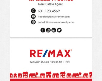 no photo REMAX real estate business cards - thick, color both sides - FREE UPS ground shipping