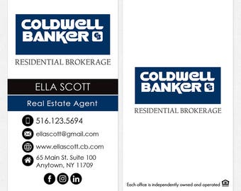 no photo Coldwell Banker real estate business cards - thick, color both sides - FREE UPS ground shipping