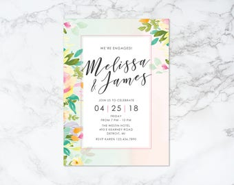 Printable Watercolor Background and Floral Engagement Invitation