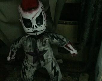 Handmade doll horror zombie creepy ooak clown punk