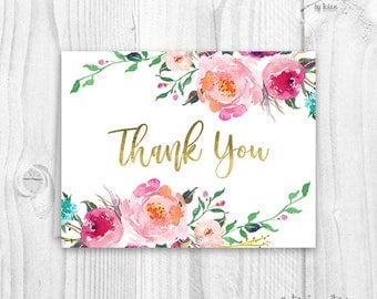 Floral thank you cards, baby shower floral thank you card, boho thank you card, burgundy and pink floral thank you card, instant download