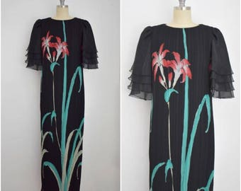 Vintage 1980s Black Chiffon Floral  Dress