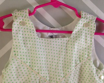 vintage white with green polka dot summer romper for baby by little one / bonwit teller size 18-24 months / 1-2 years