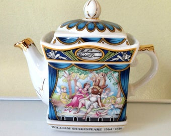 Sadler Teapot, Shakespeare Midsummer Night's Dream, Souvenir, Mothers Day SUMMER SALE