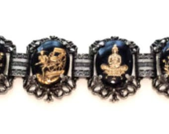 Reverse Carved Bracelet, Black, Asian Siam, Vintage Jewelry SALE