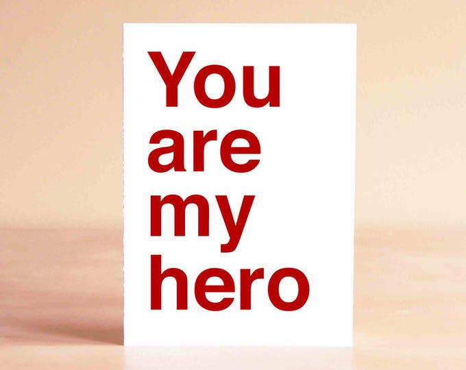 Blank Thank You Card - Modern Thank You Card - Unique Thank You Card - You are my hero