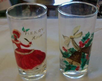 2 Antique HandPainted Glass Tumblers Christmas