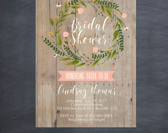 Rustic Watercolor Floral Wreath Baby Shower Bridal Shower Invitation Invite Printable Card