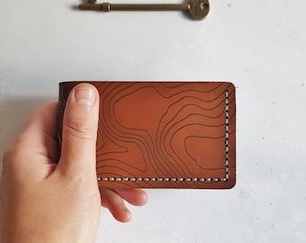 Custom Topography Wallet, bi fold leather credit card holder outdoorsy wallet leather custom wallet personalised card holder custom topo