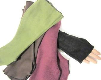 ON SALE Fleece Armwarmers Fingerless Gloves Vintage Homemade Style