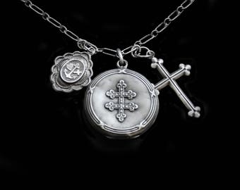 Mercurysmoon-Antique French Silver Trio- Faith Hope Charity Necklace- Tiny Locket, Larger Locket, Budded Cross