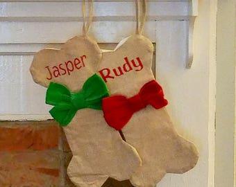 Dog bone christmas stocking/dog stocking/ dog Christmas stocking