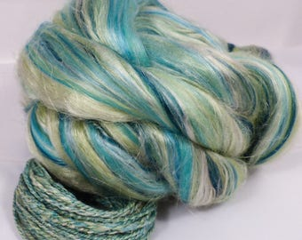 Minty Spritzer -( 2 oz.)  Custom blended top - Mint Fiber/Superfine Merino/ Mulberry Silk/ FLAX  ( 25/25/25/25 )