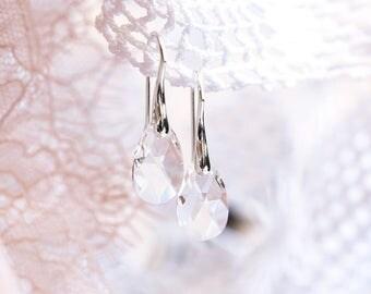 769_ Teardrop earrings, White crystals earrings, Gift earrings, SWAROVSKI crystal earrings, Gift for her, Silver gift earrings, Teardrop.