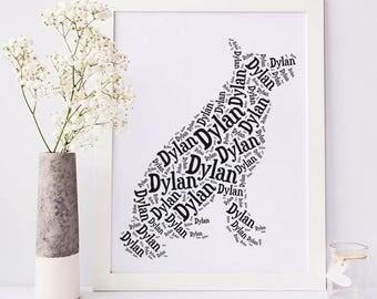 German Shepherd Custom Art Print | Your Dog's Name | Personalized German Shepherd Wall Decor | Shepherd Memorial Gift Ideas | Pet Loss Gifts