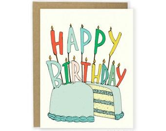 Birthday Card - Birthday Candles, Illustrated Birthday, Cake, Happy Birthday Candles, Children's, Traditional, Cute Birthday Card