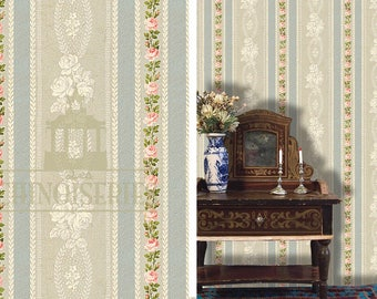 Dollhouse Miniature Wallpaper, Sense and Sensibility, Scale One Inch