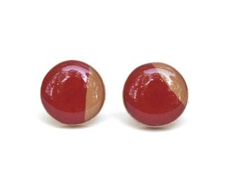 Ruby red and camel stud earrings summer outdoors wood studs post earrings red earrings wood wood earrings starlight woods