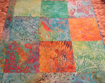 """14"""" x 14"""" PILLOW COVER - Energizing Butterflies & Tropical Singing Bird in 9 Squares of Nature Fine Cotton Batiks"""
