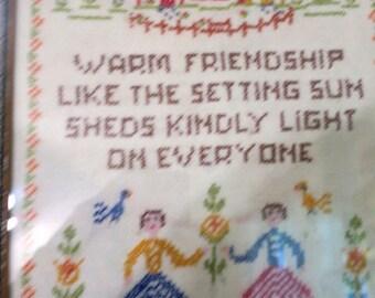 "Sampler Silver painted Frame w Glass Cross stitch Warm Friendship 10 x 13"""