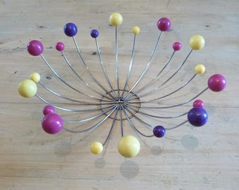 Atomic Ball Wire Fruit Bowl Mid Century Modern Sputnik Chrome