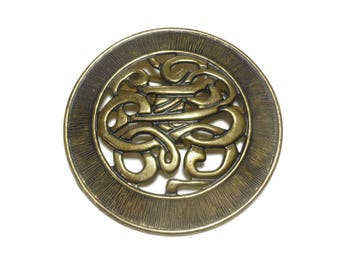 Fancy belt buckle, brass western belt buckle, antiqued scroll design, large round buckle, western wear, cowboy cowgirl