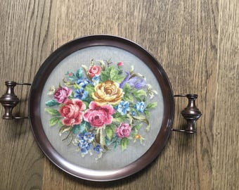 Vintage tray with micro points  embroidery.