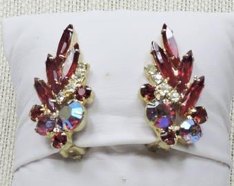 Red Rhinestone Clip on Earrings, Mid Century, 1950s