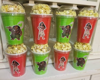 8 Moana popcorn boxes, containers, party favors with clear dome lid