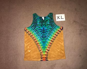 Tie Dye Tank Top ~ Rainbow V with Aqua Spider Spiral and Palomino Gold Background~ i_6059 ~ Adult XL