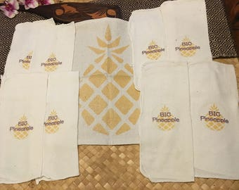 BIG PINEAPPLE-LOT of 9-Luau Linens & Tiki Towels! Tea Towels-Cocktail Napkins/Dish Cloths/Bar/Kitchen Towels-Retro Art for Tiki Party/Luau