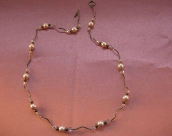 "Delicate Womens 17"" Sterling Silver Beaded Faux Pearl Princess Necklace [FA14]"