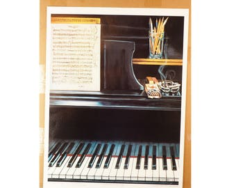 Signed Print- Willa Howell-Bullock Artist Proof Print- Unfinished Melody by Cole Porter - Signed- Large Print unframed- Vintage