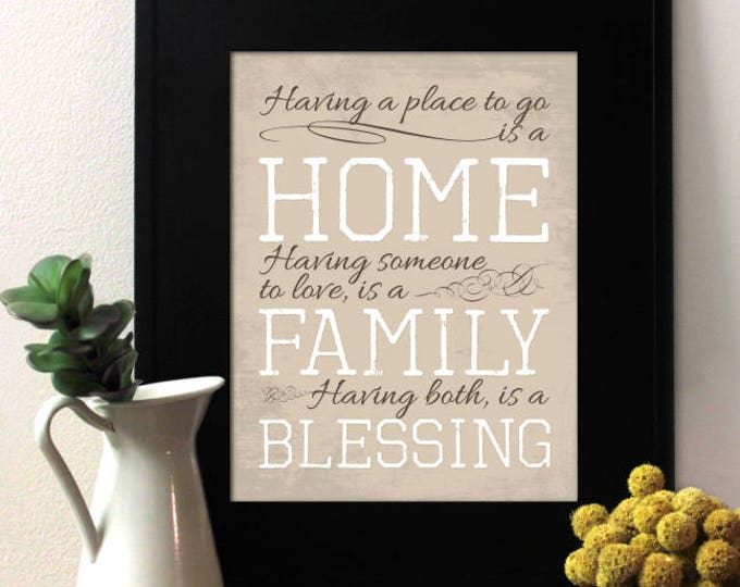 Having a place to go, is a home. Having someone to love, is a family. Having both, is a blessing. Donna Hedges_quote. Unframed