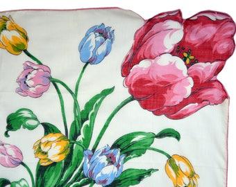1950's printed linen tulip handkerchief