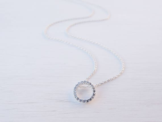 Tiny Circle Necklace, Cubic Zirconia, Sterling Silver