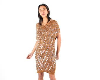 Very Special 90s Avant Garde SEQUIN + SHAG Eyelash Knit Crochet Loose Slouchy Relaxed Sweater Tunic / Mini Dress
