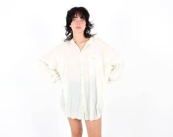 90s Unisex MINIMAL STAPLE White Cotton Linen Gauze Cream Oversized Slouchy Shirt / Mini Dress