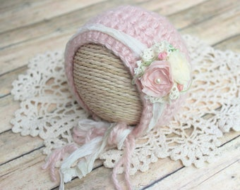 Blush Pink Newborn Bonnet with Flower and Lace Embellishment / Photo Photography Prop - Knit / Crochet  / Alpaca Yarn / Baby Girl