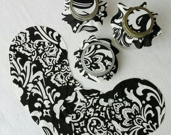 Black Damask Cotton Jar Toppers, 12, Dozen Fabric Circles for Canning, Gift in a Jar, YoYo, FREE Shipping