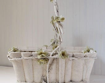 Rustic Shabby Wedding Basket with Pale Green Silk and Lace Flowers Hand Painted White