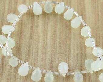 Sea Foam Pale Green Jade Briolettes - Destash - Final Sale - Wholesale Closeout - Destash Beads - Teardrop Beads - Wholesale Beads