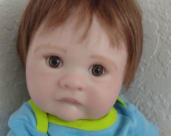 "Reborn Baby Boy Doll ""Cooper"" w. brown hair/eyes-ready to ship"